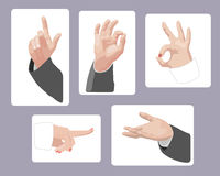 Set of male and female hands gesturing Stock Images