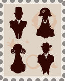 Set of 4 male and female isolated stamps Stock Photo