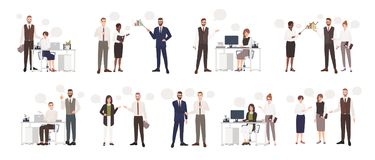 Set of male and female office workers talking to each other. Business people or clerks communicating with colleagues. Negotiating, making presentations. Flat royalty free illustration
