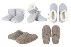 Set of male and female slippers Royalty Free Stock Photos