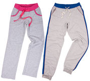 Set of male and female sweatpants. Isolated on white background. Royalty Free Stock Photo
