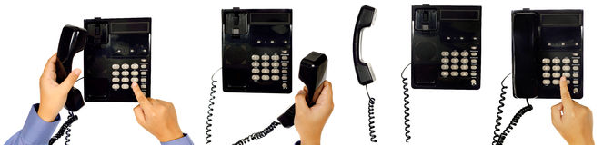 Set Of Male Hand Using Telephone Stock Images