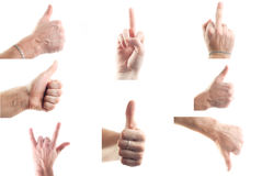 Set of male hands showing signs Royalty Free Stock Image