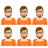 set of male hipster avatar expressions Royalty Free Stock Images