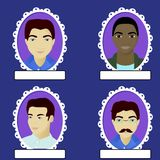 Set of male portrait in oval frame Stock Images