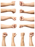 Set of male`s fist isolated on white. Background Royalty Free Stock Photography