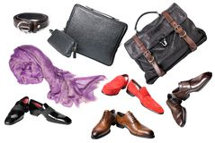 Set of male shoes, accessories and bags. Isolated on white Stock Images