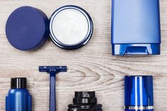 Set of male skin care essentials. Close-up of cosmetic products for men. Set of male skin care essentials Royalty Free Stock Photo