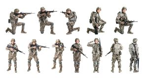 Set with male soldier on white background. royalty free stock image