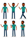 Set of male worker man. African American ethnic people. Flat vector illustration. Set of male worker man, standing poses, talking on phone, having a break, full Stock Photography