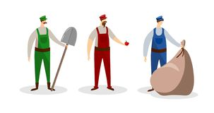 Set of Male Workers Characters in Uniform. People. royalty free illustration
