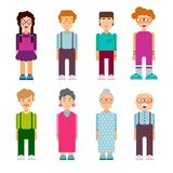 Set of males and females characters in flat design Stock Images