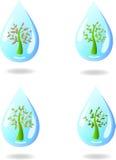 Set mali abstrakcjonistyczni drzewa w kropli woda Zdjęcia Stock