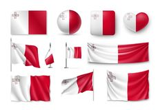 Set Malta flags, banners, banners, symbols, flat icon Stock Photography