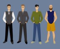 Set malujący piękni mężczyzna z różnymi stylami odzież w mieszkaniu Obrazy Royalty Free