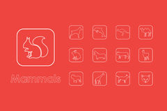 Set of mammals simple icons Stock Photography