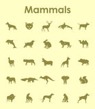 Set of mammals simple icons Royalty Free Stock Images