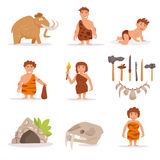 Set with mammoth, cave people, Stock Photo