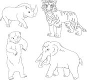 Set of mammoth, prehistoric bear, saber-toothed tiger and rhino. Coloring book for kids. Vector illustration Stock Photography