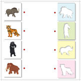 Set of mammoth, prehistoric bear, saber-toothed tiger and rhino. Educational game for kids. Choose the correct silhouettes on the opposite side and connect the Stock Photo