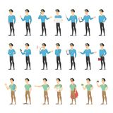 Set of a man character with various face emotions and gestures. Set of a standing man character in casual clothes with various face emotions and gestures stock illustration