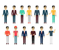 Set of Man Characters Template Vector. Set of male character without face in different clothing and poses vector. Flat design. Man template personages Royalty Free Stock Photography