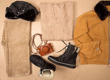 Set of man cloth and footwear and camera Stock Photos