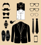 Set of man fashion elements. vector illustration Royalty Free Stock Photo