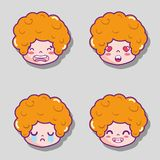 Set man head emotion faces message. Vector illustration Stock Photography