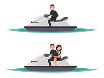 Set of man on the jet ski one and  with woman. Vector illustrati. On of a flat design Stock Photography