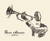 Set man playing trumpet vintage hand drawn sketch stock illustration