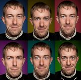 Set of man portraits.  Manycolored. Stock Photography