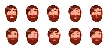 Set of man`s emotions. Bearded guy face. Cartoon character with different facial expression collection. Colorful vector Stock Photo