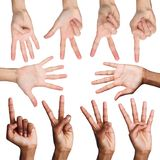 Set of man`s hands. Diverse male hands show figures, counting. Set of african-american and caucasian male hands showing figures, count one, two, three, four royalty free stock images