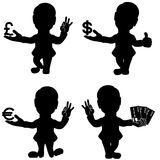 Set of man silhouettes with currency sign. Silhouette set of four man that holds Dollar, Euro and Pound currency signs and bank cards, conceptual cartoon stencil Stock Image