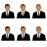 Set of man in suit avatars Royalty Free Stock Image