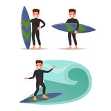 Set man surfer. Posing with surfboard, riding on the waves. Vect. Or illustration of a flat design Stock Photos