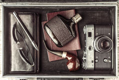 Set of the man traveler  in the suitcase top view Royalty Free Stock Photo