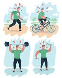Set of man and woman doing warm-up and exercises stock illustration