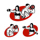 Set man and woman of fitness logo Royalty Free Stock Images