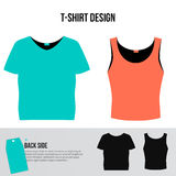 Set of man and woman short T-shirt designs. Blue and pink vector T-shirts with back side isolated on white background. Royalty Free Stock Photo