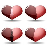 Set of man and woman silhouette in heart shape. Vector illustration Royalty Free Stock Photo