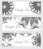 Set Mandala banner, banner abstract patterns. Black and white banner design. Vector illustration Royalty Free Stock Images