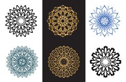 Set mandala black and blue color on white and black background. Collection of mandala black and blue color on white and black background Eastern silhouette Stock Photos