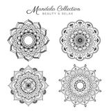 Set of mandala decorative and ornamental. Design for coloring page, greeting card, invitation, tattoo, yoga and spa symbol. Vector illustration Royalty Free Stock Photos