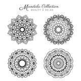 Set of mandala decorative and ornamental. Design for coloring page, greeting card, invitation, tattoo, yoga and spa symbol. Vector illustration Stock Photography