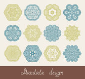 Set of 12 mandala design, circle ornament. Collection for print, or web, abstract round geometric pattern vector illustration Royalty Free Stock Photos