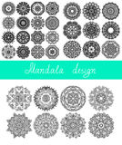 Set of 33 mandala design, circle ornament. Collection for print, or web, abstract round geometric pattern vector illustration royalty free illustration