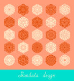 Set of mandala design, circle ornament collection. Set of 25 mandala design, circle ornament collection for print, or web, abstract round geometric pattern vector illustration