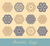 Set of 12 mandala design, circle ornament. Collection for print, or web, abstract round geometric pattern vector illustration Stock Photo